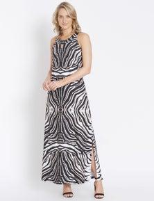 Rockmans Sleeveless Necklace Print Maxi Dress