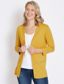 Rockmans 3/4 Sleeve Edge To Edge Studded Cardi