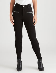 Rockmans 7/8 Length Zip Pocket Fashion Ponte Pant