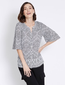 Rockmans Elbow Sleeve Tribal Print Shirt