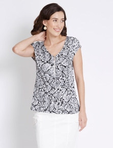 Rockmans Extended Sleeve Utility Print Top