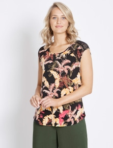Rockmans Extended Sleeve Lace Floral Print Top