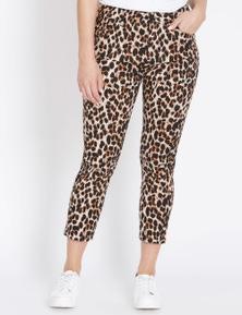 Rockmans 7/8 Length Animal Printed Slim Leg Jean