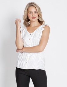 Table Eight Flutter Sleeve White Leopard Top