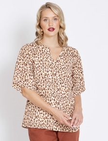 Table Eight Elbow Sleeve Mixed Animal Blouse