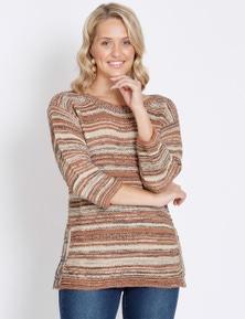 Rockmans 3/4 Sleeve Boatneck Self Stripe Knit