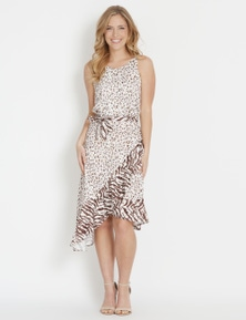 Table Eight Animal Mix Midi Dress