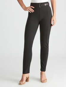 Rockmans Full Length Belt Detail Ponte Pant