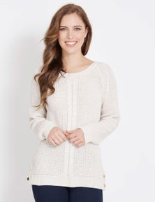 Rockmans Long Sleeve Crew Neck Cable Front Jumper