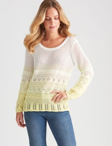 Rockmans Long Sleeve Crochet Ombre Jumper