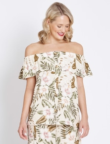 Table Eight Short Sleeve Floral Palm Top