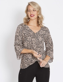 Table Eight 3/4 Sleeve Twist Front Leopard Blouse
