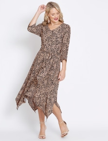 Table Eight 3/4 Sleeve Twist Front Dress