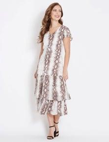 Table Eight Cap Sleeve Snake Print Midi Dress