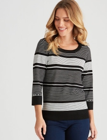 Rockmans 3/4 Sleeve Zip Shoulder Jumper