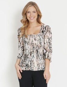 Table Eight 3/4 Sleeve Shirred Top