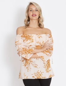 Table Eight 3/4 Sleeve Off Shoulder Floral Top