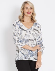Table Eight 3/4 Sleeve Golden Palm Print Top