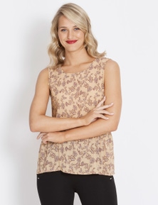 Table Eight Sleeveless Amber Floral Pleated Top