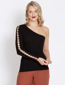 Table Eight One Shoulder Eyelet Detail Knit Top
