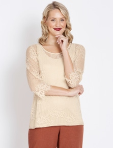 Table Eight 3/4 Sleeve Lace Top