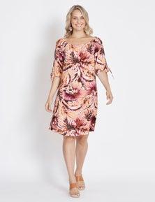 Rockmans Elbow Sleeve Tropical Print Dress