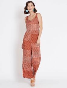 Rockmans Sleeveless Shirred Detail Print Jumpsuit