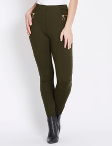 Rockmans Full Length Zip Detail Ponte Pant