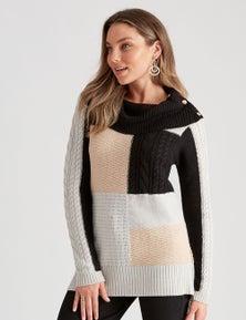 Rockmans 3/4 Sleeve Cable Colour Block Knit