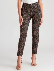 Rockmans Full Length Slim Leg Animal Print Jean