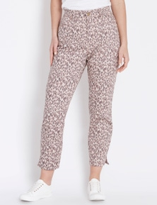 Rockmans 7/8 Side Split Animal Print Jean