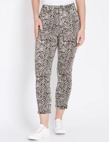 Rockmans 7/8 Side Split Animal Print Jean
