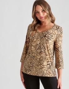 Rockmans 3/4 Sleeve Mixed Animal Monroe Print Top