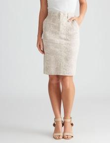 Rockmans Knee Length Blush Animal Print Skirt