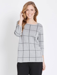 Rockmans 3/4 Sleeve Check Knit