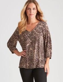 Rockmans 3/4 Sleeve Zip Neck Leopard Print Top
