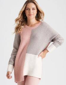 Rockmans Long Sleeve Colour Block Knit