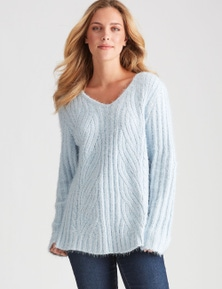 Rockmans Long Sleeve Fuzzy Cable Knit