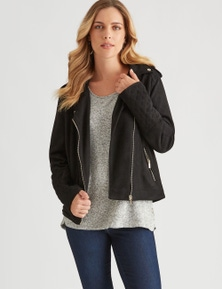 Rockmans Long Sleeve Quilted Biker Jacket