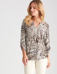 Rockmans 3/4 Sleeve Shirt Style Print Top