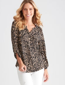 Rockmans 3/4 Sleeve Shirt Style Top