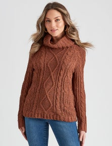 Rockmans Long Sleeve Cowel Chenille Knit