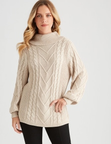 Rockmans Long Sleeve Pink Cable Knit