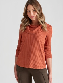 Rockmans Long Sleeve Ribbed Cowl Neck Top