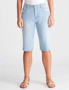 Rockmans Knee Length Light Wash Stud Pocket Short