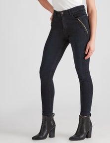 Rockmans Full Length Dark Wash Zip Pocket Jean