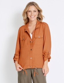 Rockmans Long Sleeve Cropped Soft Utility Jacket