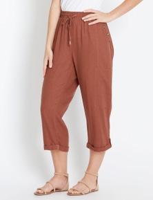 Rockmans Crop Linen Button Pant