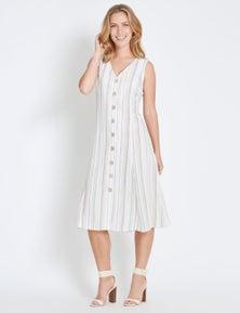 Rockmans Sleeveless Button Through Midi Dress