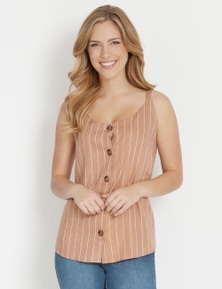 Rockmans Sleeveless Linen Button Through Top